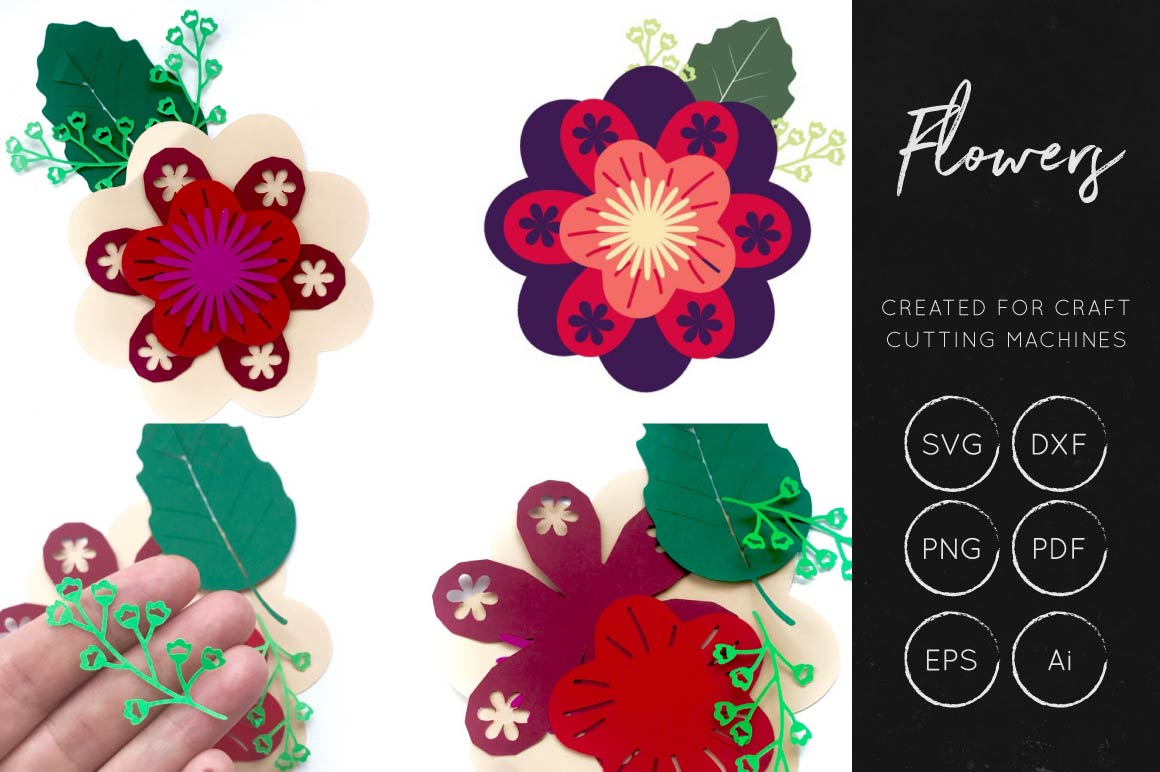 Print on Demand: Layered Flower Cut File Gráfico Flores en 3D Por illuztrate