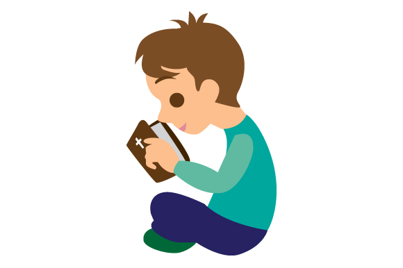 Download Free Little Boy Reading His Bible Svg Cut File By Creative Fabrica for Cricut Explore, Silhouette and other cutting machines.