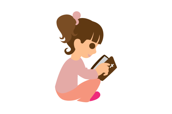 Download Free Little Girl Reading Her Bible Svg Cut File By Creative Fabrica for Cricut Explore, Silhouette and other cutting machines.