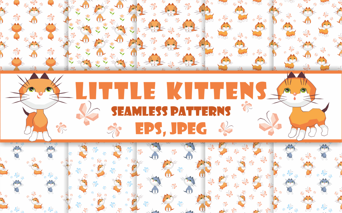Print on Demand: Little Kittens Seamless Patterns Graphic Patterns By Olga Belova