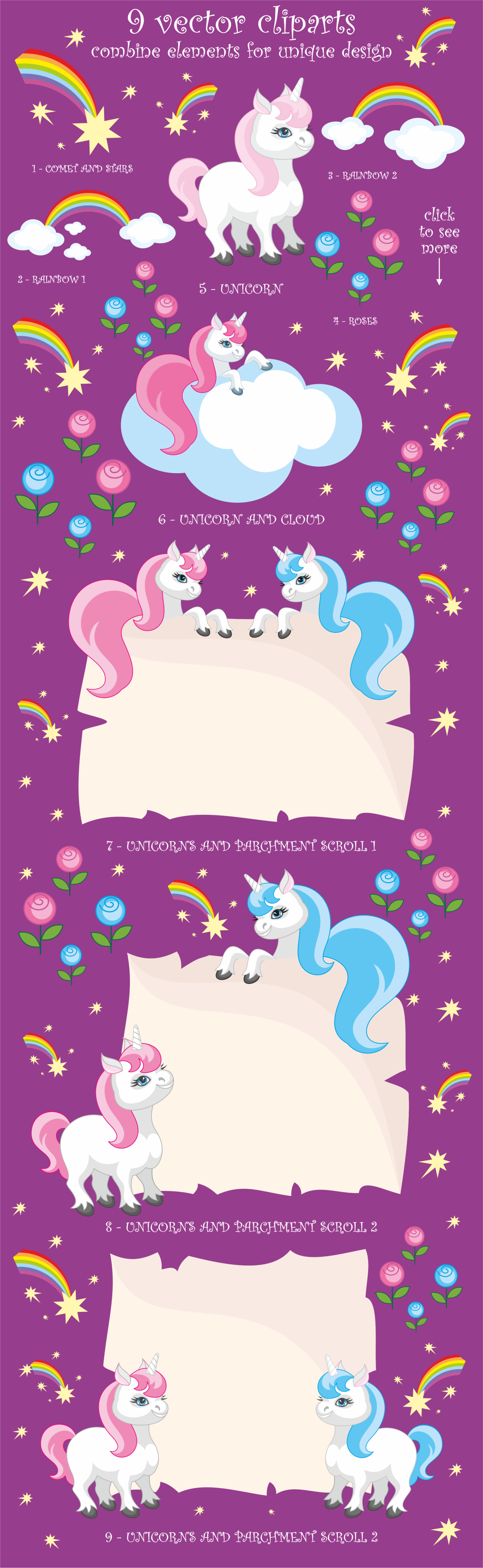 Print on Demand: Little Unicorns, Vector Clip Arts and Patterns Graphic Illustrations By Olga Belova - Image 2