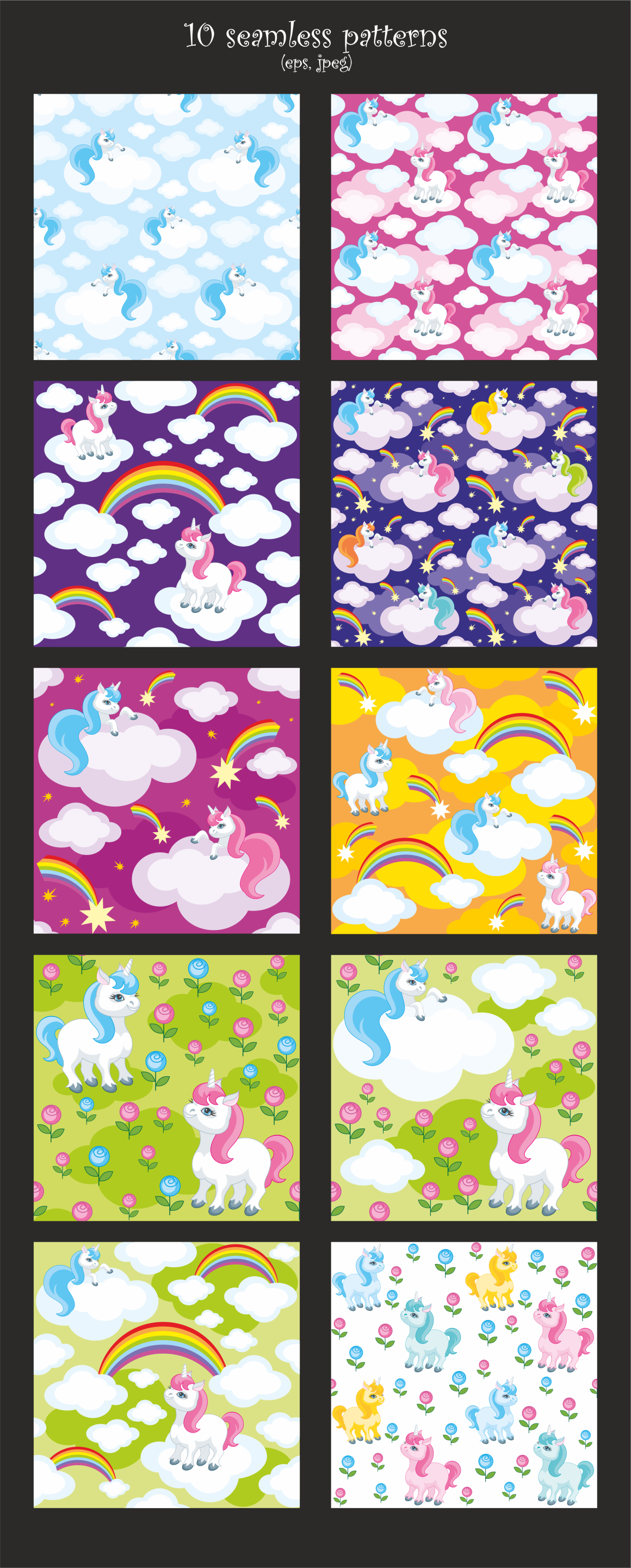 Print on Demand: Little Unicorns, Vector Clip Arts and Patterns Graphic Illustrations By Olga Belova - Image 3