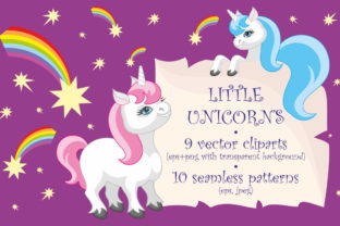 Little Unicorns, Vector Clip Arts and Patterns Graphic By Olga Belova