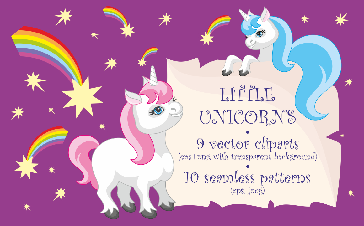 Print on Demand: Little Unicorns, Vector Clip Arts and Patterns Graphic Illustrations By Olga Belova