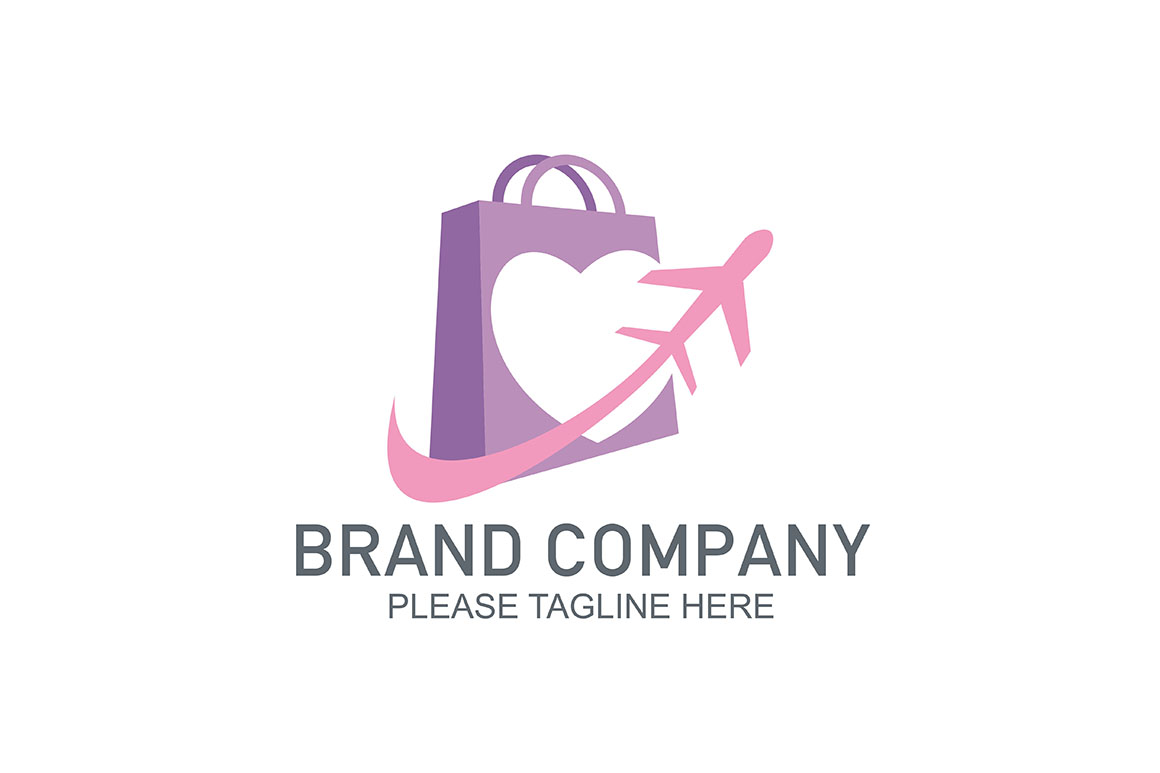 Logo Love Couple Shop Bags Icon Plane Symbol Vector Graphic By