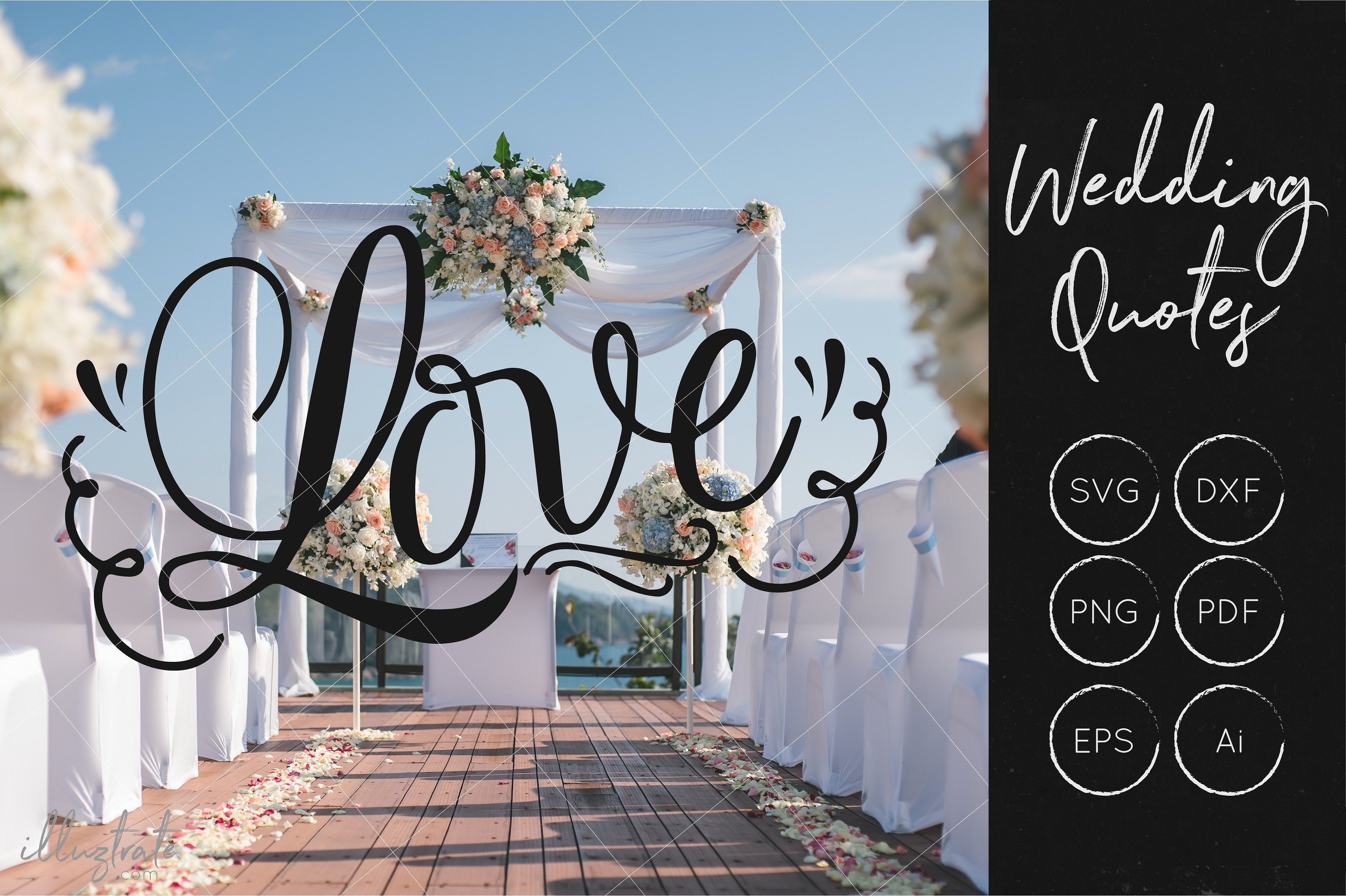 Print on Demand: Love SVG Cut File for Crafters - Wedding Quote SVG Graphic Crafts By illuztrate