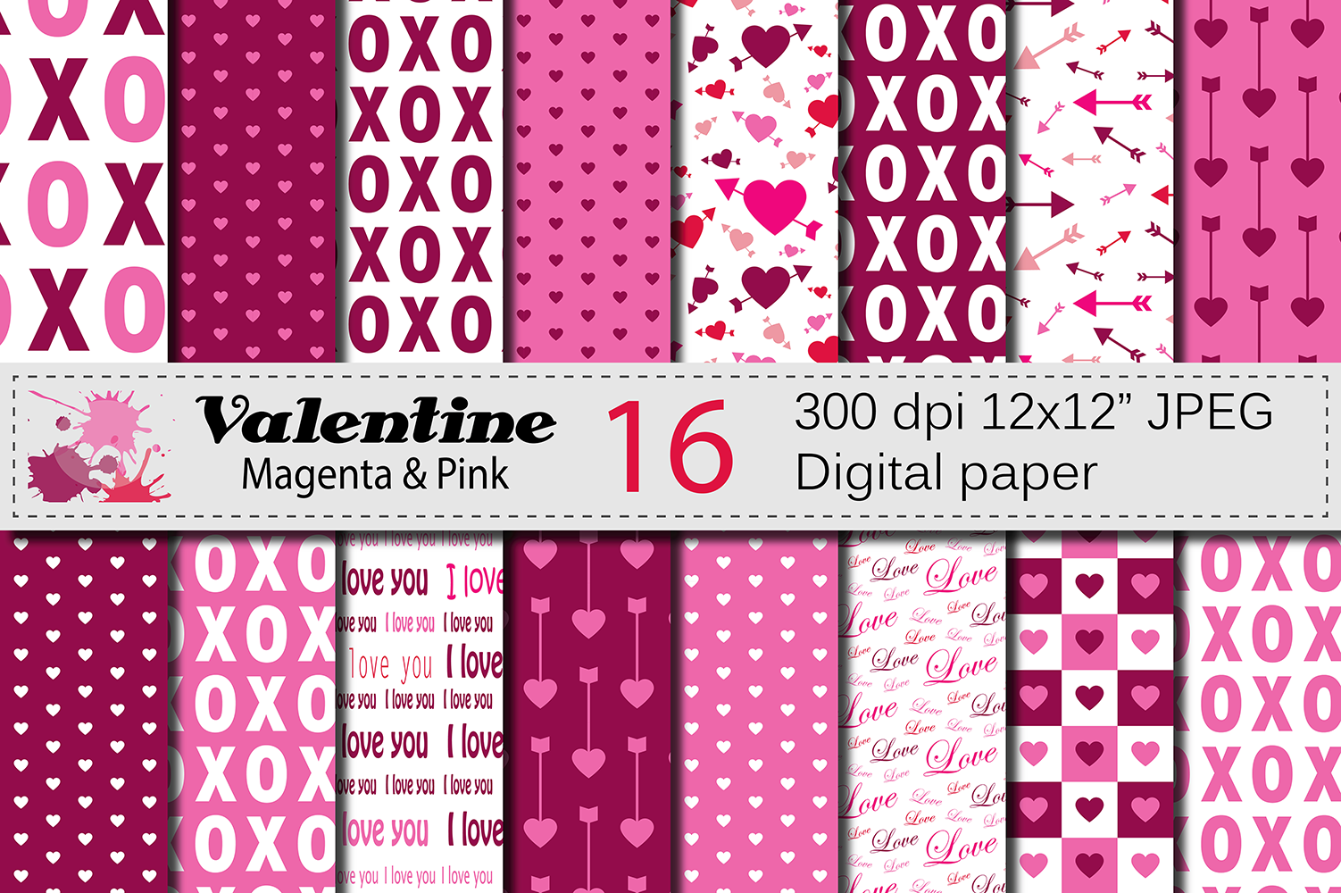 Magenta and Pink Valentine Digital Paper Pack with Hearts and Arrows / Valentine Backgrounds Graphic Backgrounds By VR Digital Design
