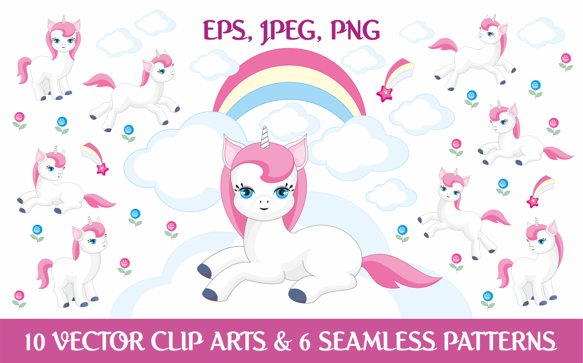 Download Free Magic Unicorns Vector Elements And Patterns Graphic By Olga for Cricut Explore, Silhouette and other cutting machines.