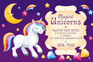 Download Free Magical Unicorns Illustrations Graphic By Olga Belova Creative for Cricut Explore, Silhouette and other cutting machines.