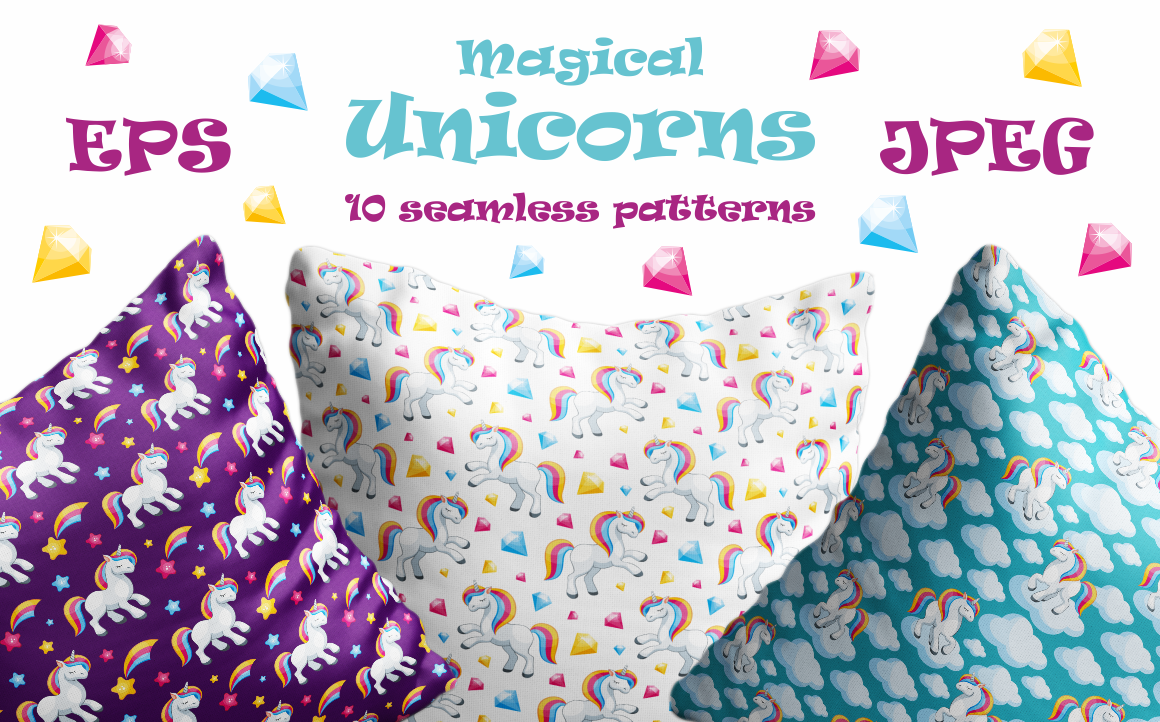 Print on Demand: Magical Unicorns Seamless Patterns Graphic Patterns By Olga Belova