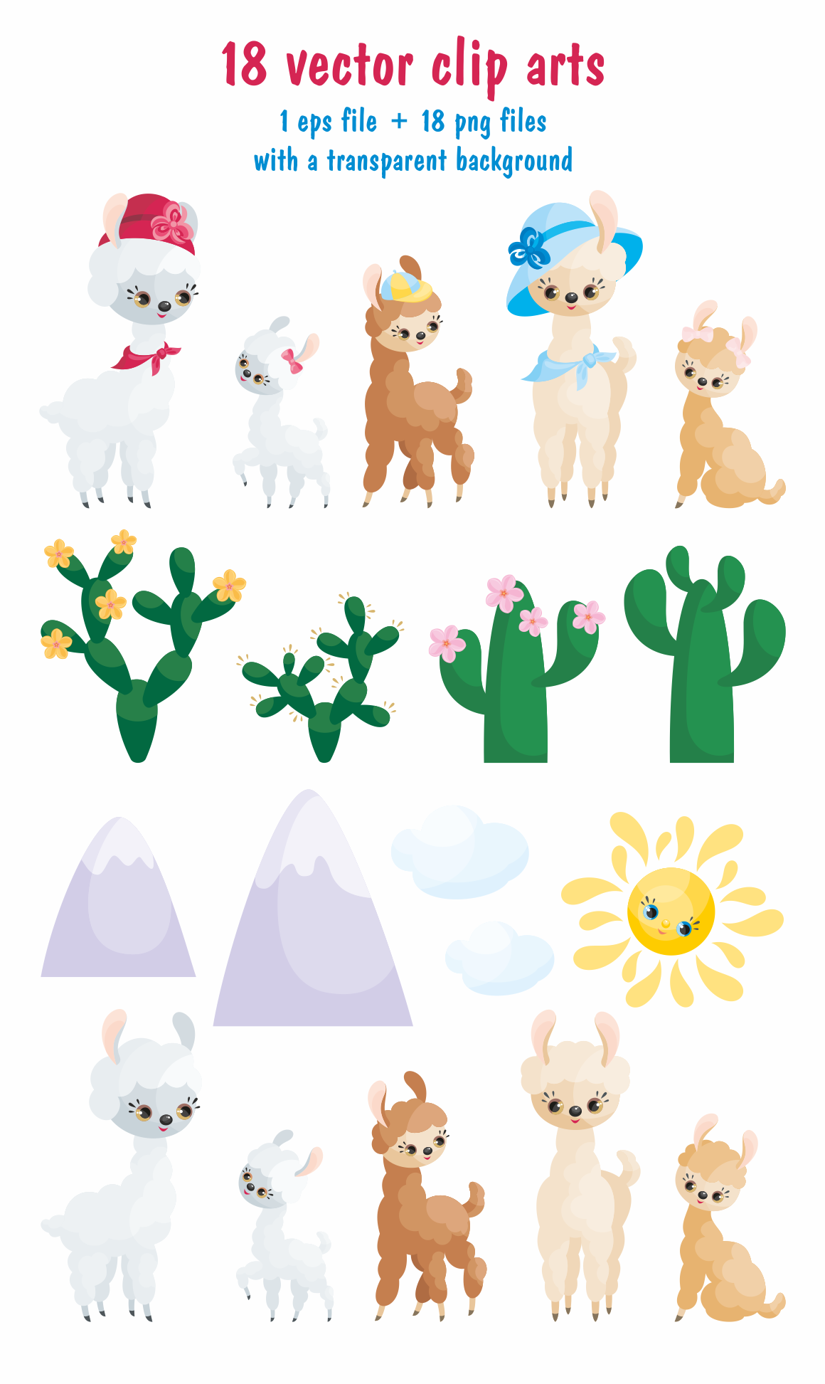 Print on Demand: Mama Llama, Vector Clip Art Illustrations for Mother's Day Graphic Illustrations By Olga Belova - Image 2