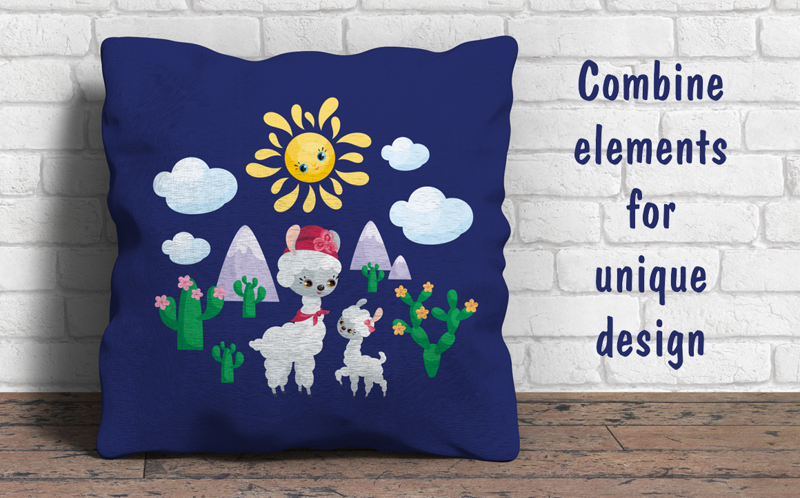 Print on Demand: Mama Llama, Vector Clip Art Illustrations for Mother's Day Graphic Illustrations By Olga Belova - Image 3
