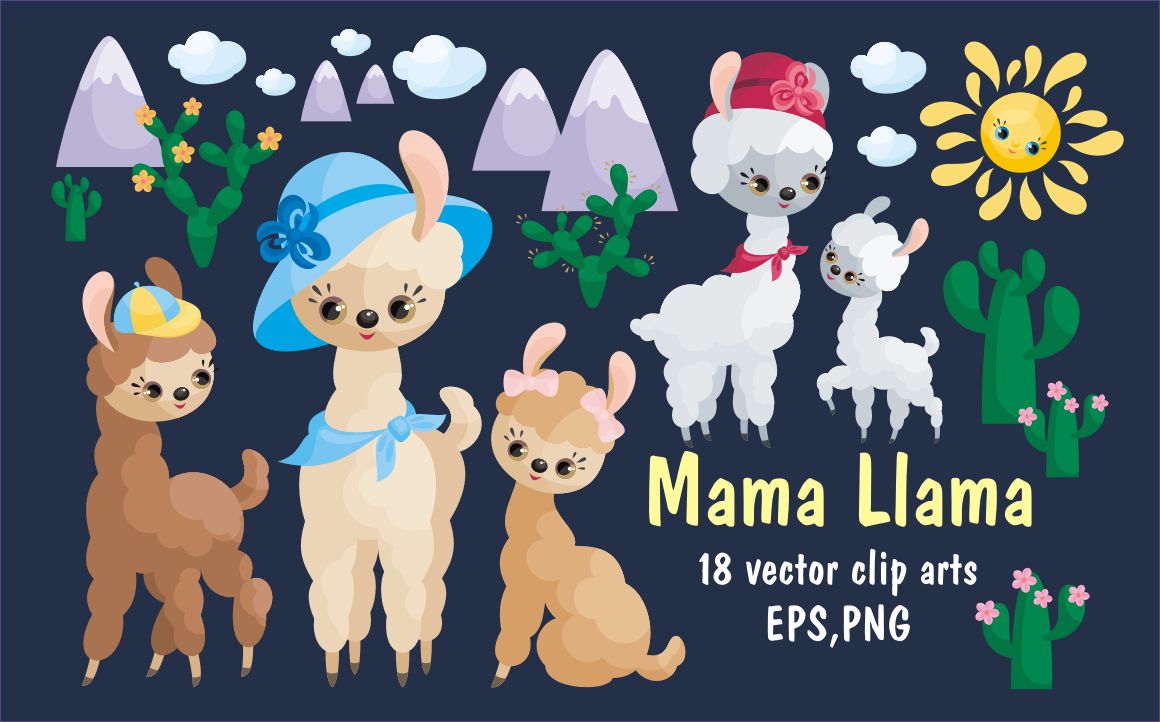 Print on Demand: Mama Llama, Vector Clip Art Illustrations for Mother's Day Graphic Illustrations By Olga Belova