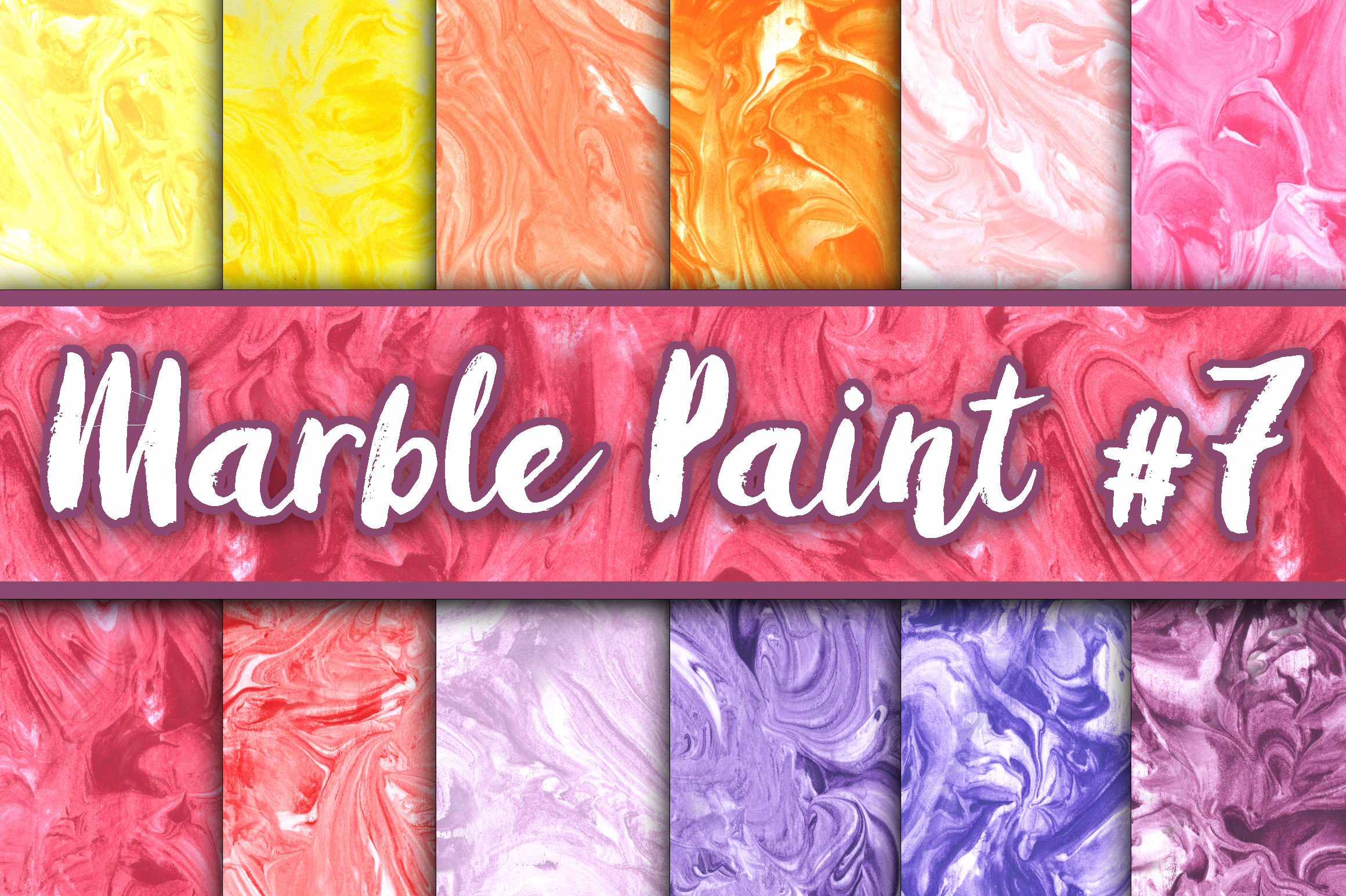 Marble Paint Textures - Yellow, Orange, Pink, Red and Purple Graphic Textures By oldmarketdesigns - Image 1