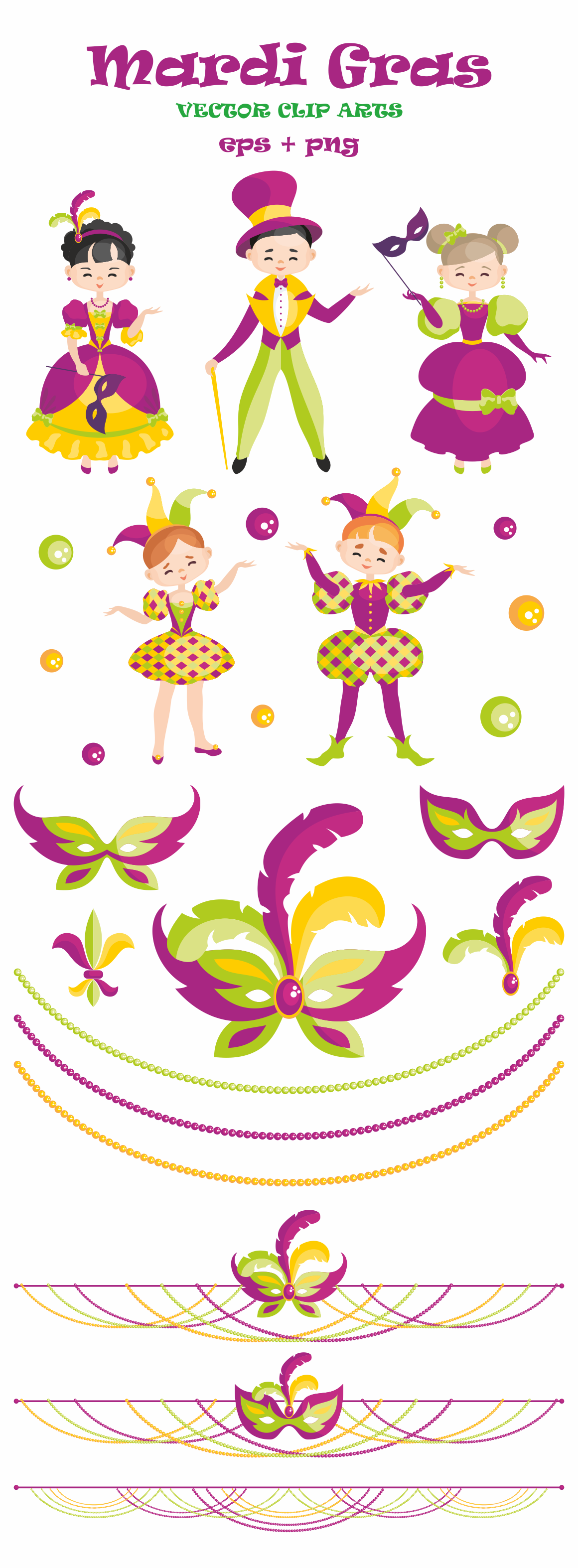 Print on Demand: Mardi Gras Mini Set, Vector Clip Arts and Seamless Patterns Illustrations Craft Cut File By Olga Belova - Image 2