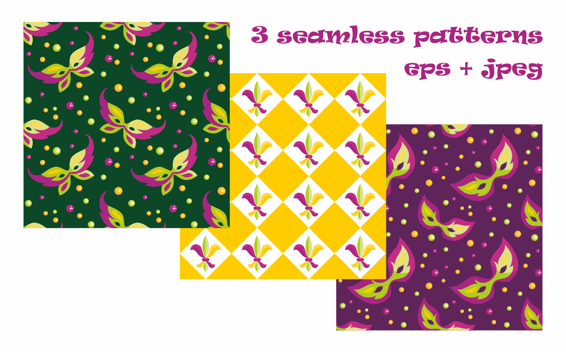 Print on Demand: Mardi Gras Mini Set, Vector Clip Arts and Seamless Patterns Illustrations Craft Cut File By Olga Belova - Image 3