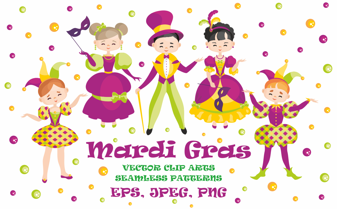 Print on Demand: Mardi Gras Mini Set, Vector Clip Arts and Seamless Patterns Illustrations Craft Cut File By Olga Belova - Image 1