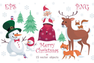 Download Free Merry Christmas Santa Claus Cute Animals And Snowmen Graphic By for Cricut Explore, Silhouette and other cutting machines.