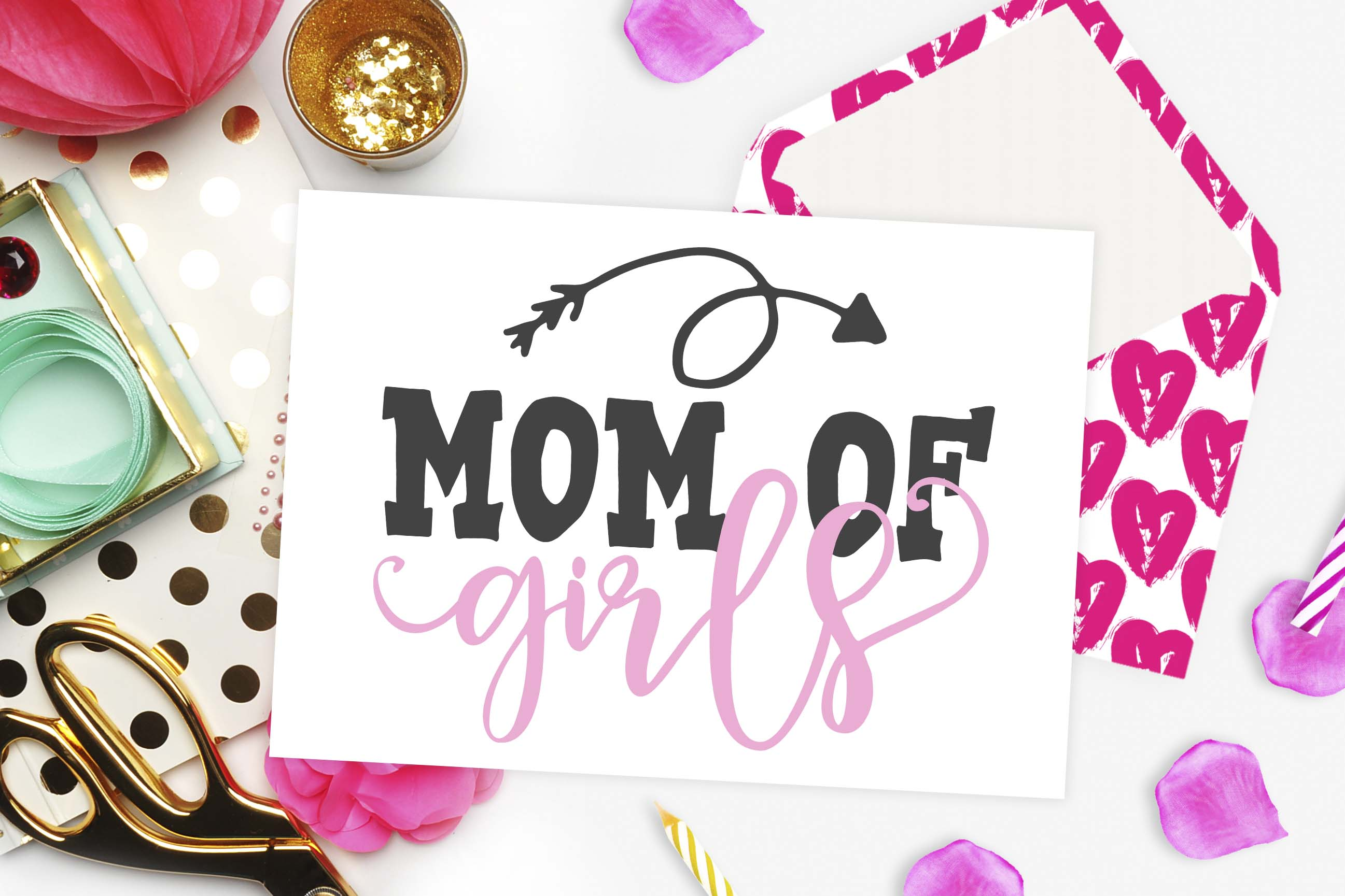 Download Free Mom Of Girls Cutting File Grafico Por Theblackcatprints for Cricut Explore, Silhouette and other cutting machines.