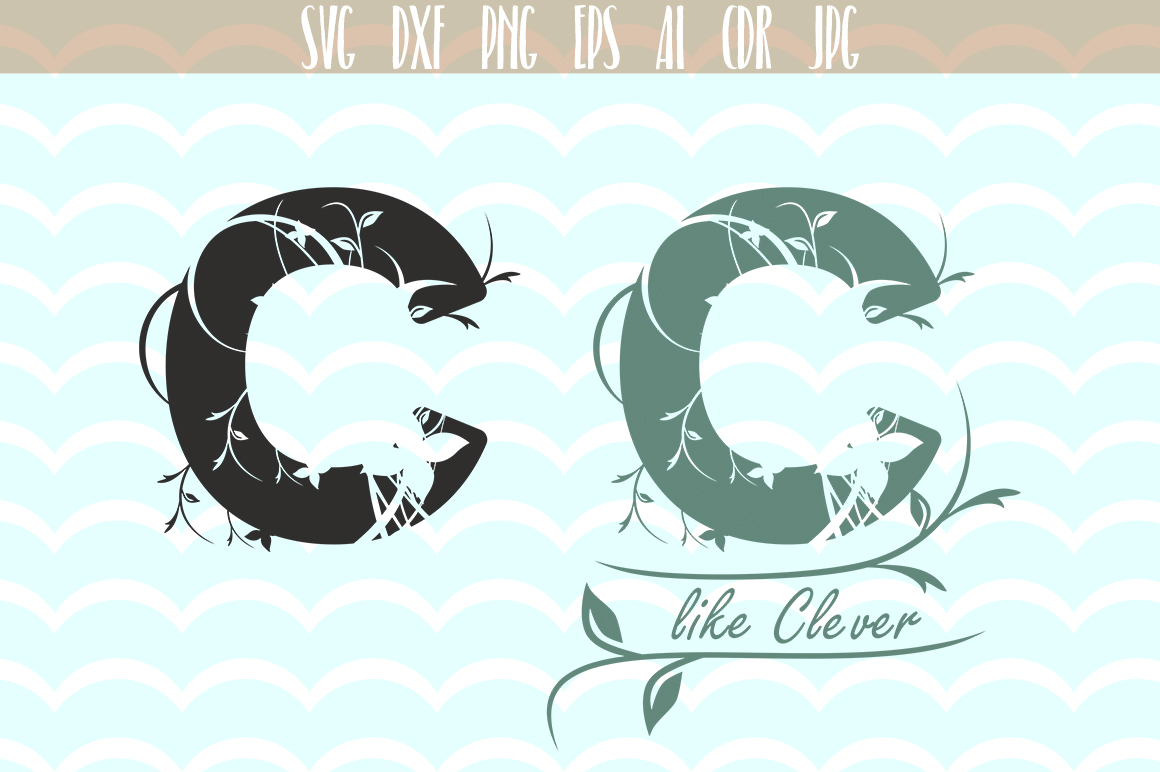 Download Free Monogram Alphabet Floral Letter C Graphic By Vector City Skyline for Cricut Explore, Silhouette and other cutting machines.