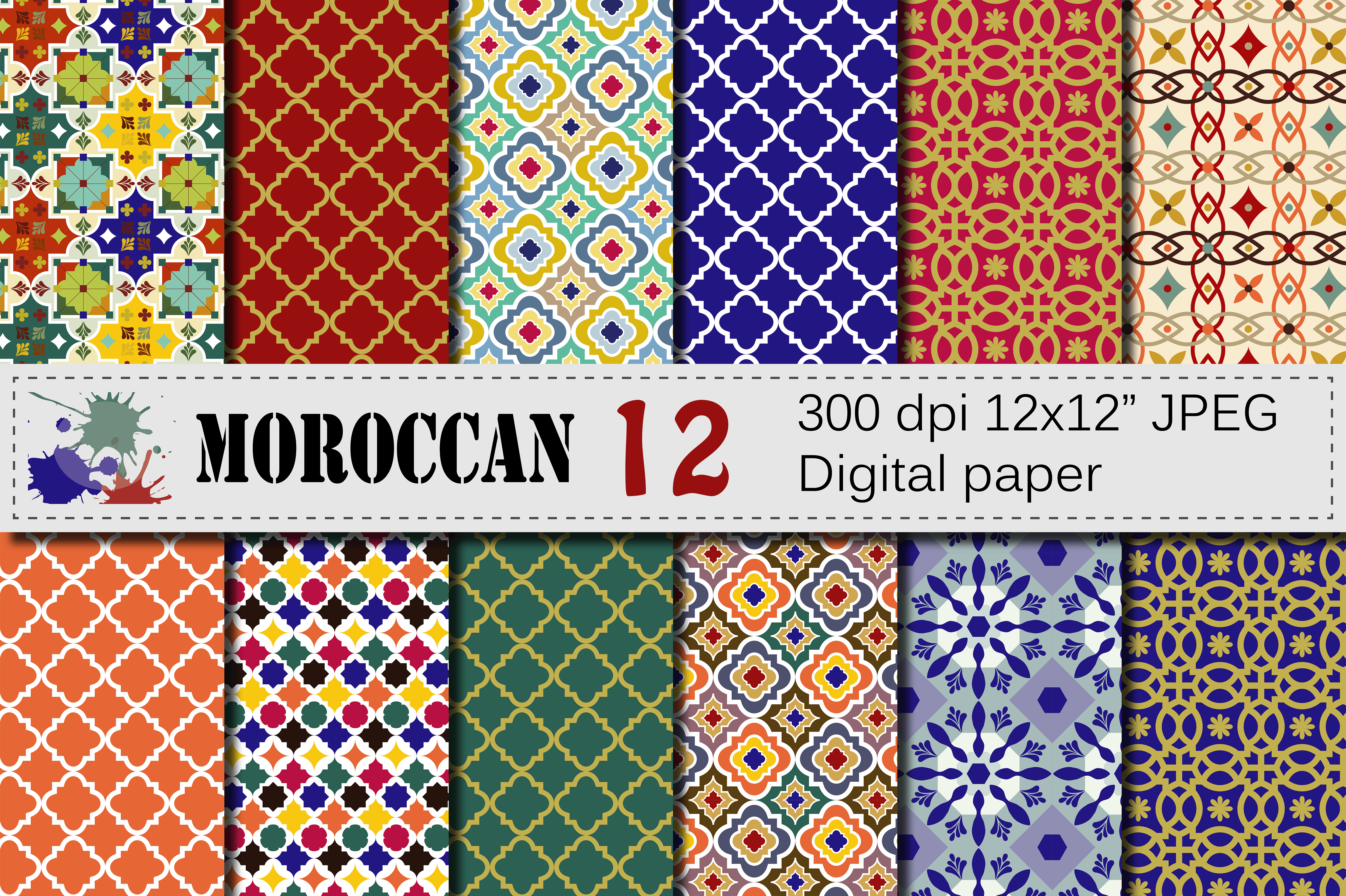 Download Free Moroccan Digital Papers Graphic By Vr Digital Design Creative for Cricut Explore, Silhouette and other cutting machines.