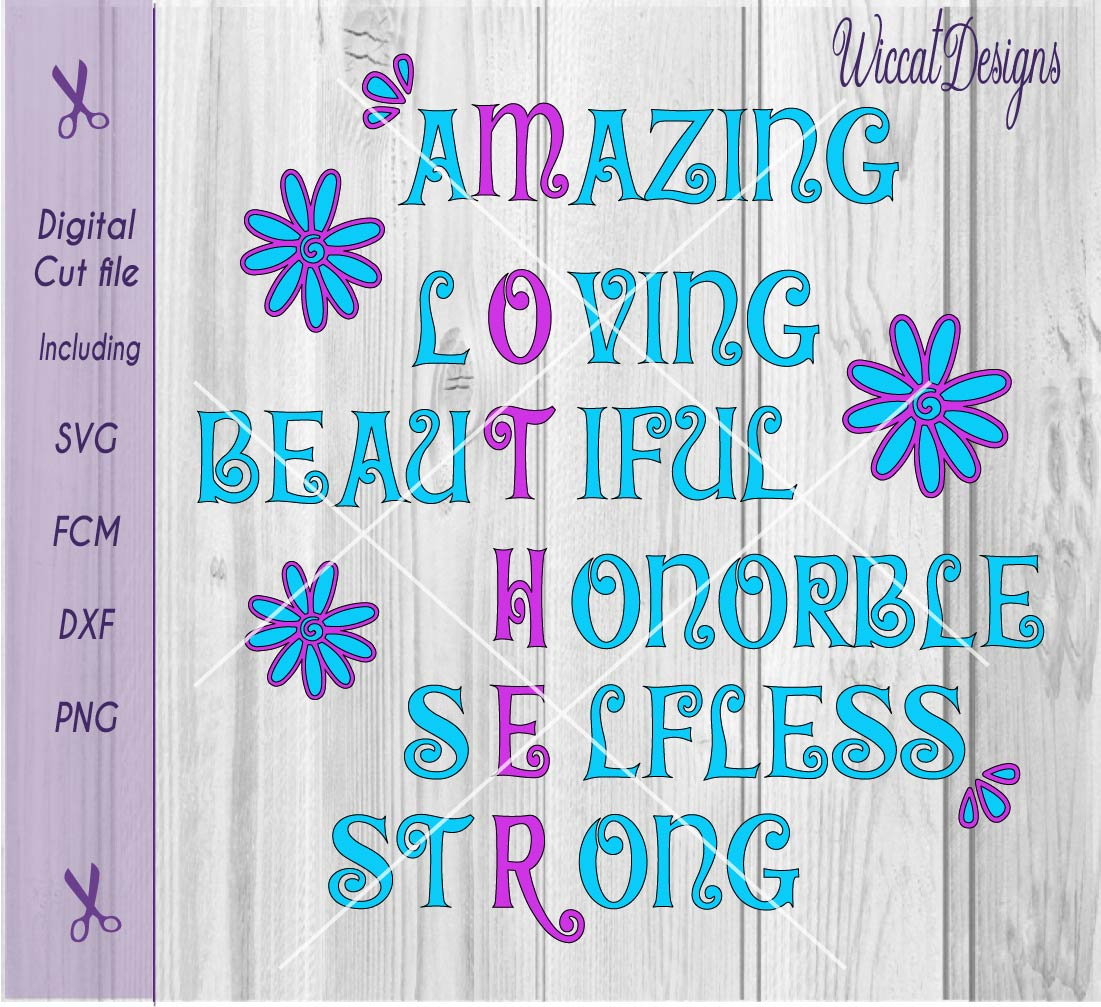 Download Free Mother Word Art Flower Svg Quote Svg Graphic By Wiccatdesigns for Cricut Explore, Silhouette and other cutting machines.