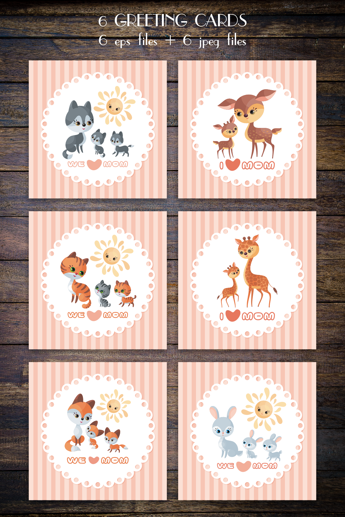 Print on Demand: Mother's Day Greeting Cards with Cute Animals Graphic Crafts By Olga Belova - Image 2