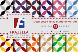 Multi Color Retro Diamond Pattern Digital Paper Collection