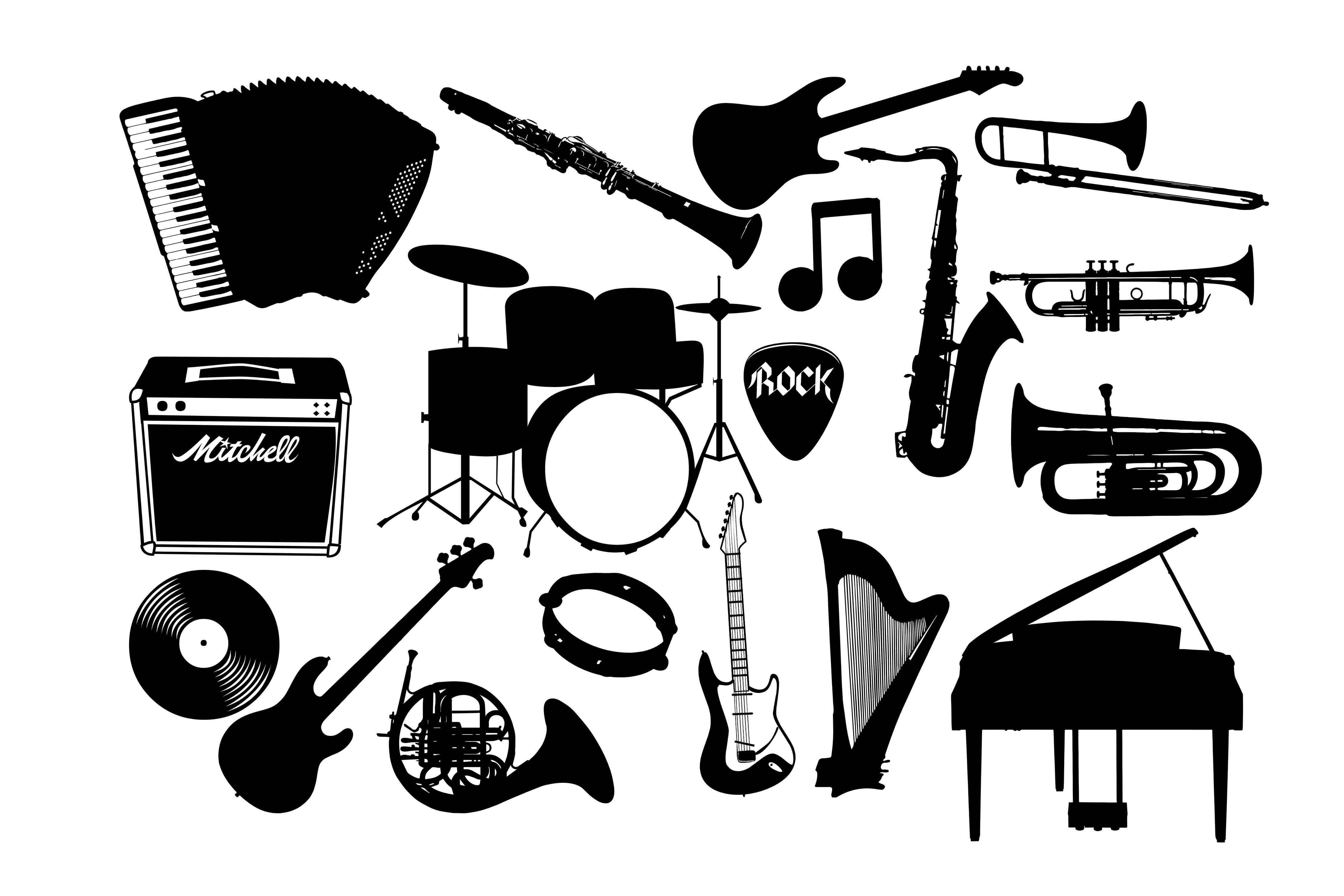 Download Free Music Instrument Graphic By Retrowalldecor Creative Fabrica SVG Cut Files