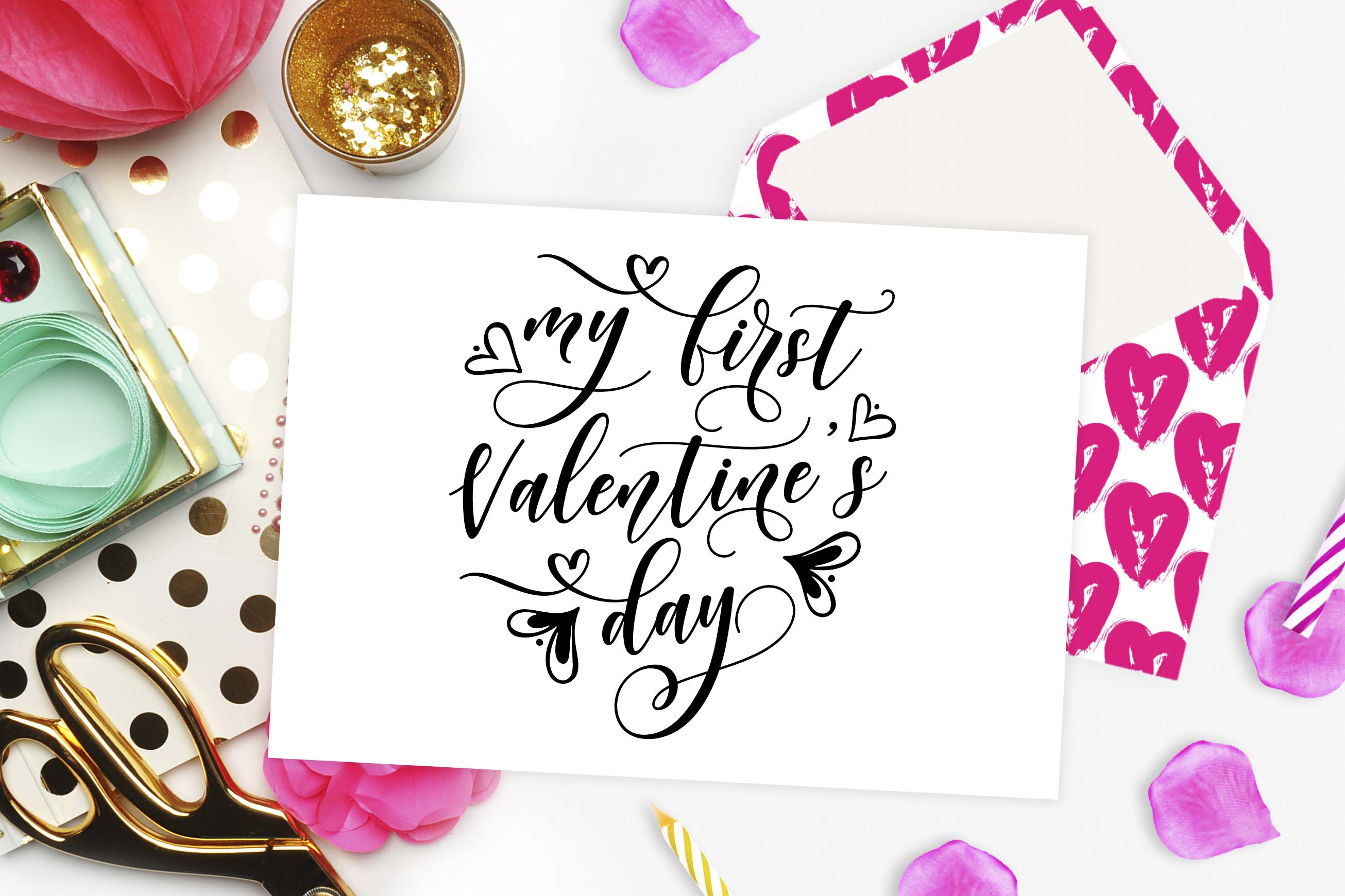 My First Valentine's Day Cutting File Graphic Crafts By TheBlackCatPrints