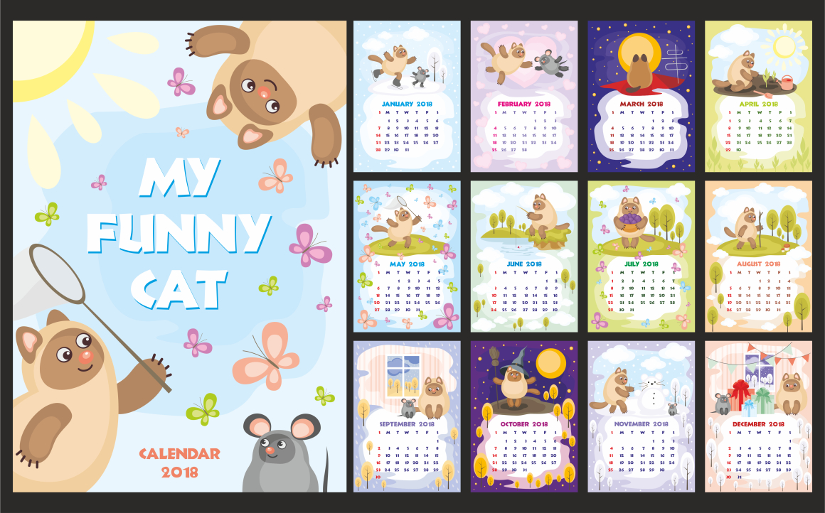 Print on Demand: My Funny Cat Wall Calendar 2018 Grafik Illustrationen von Olga Belova