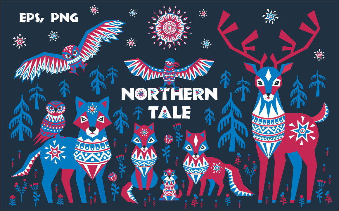 Print on Demand: Northern Tale. Arctic Animals in Tribal Style. Graphic Illustrations By Olga Belova