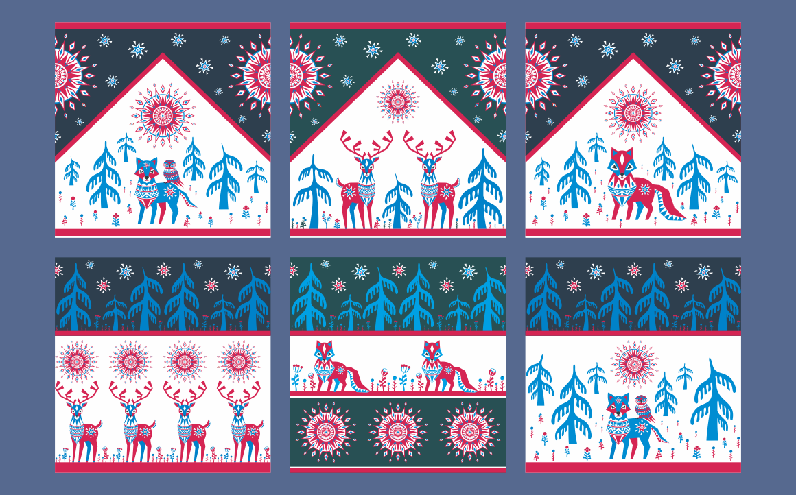 Print on Demand: Northern Tale. Seamless Patterns with Arctic Animals in Tribal Style Graphic Patterns By Olga Belova - Image 2