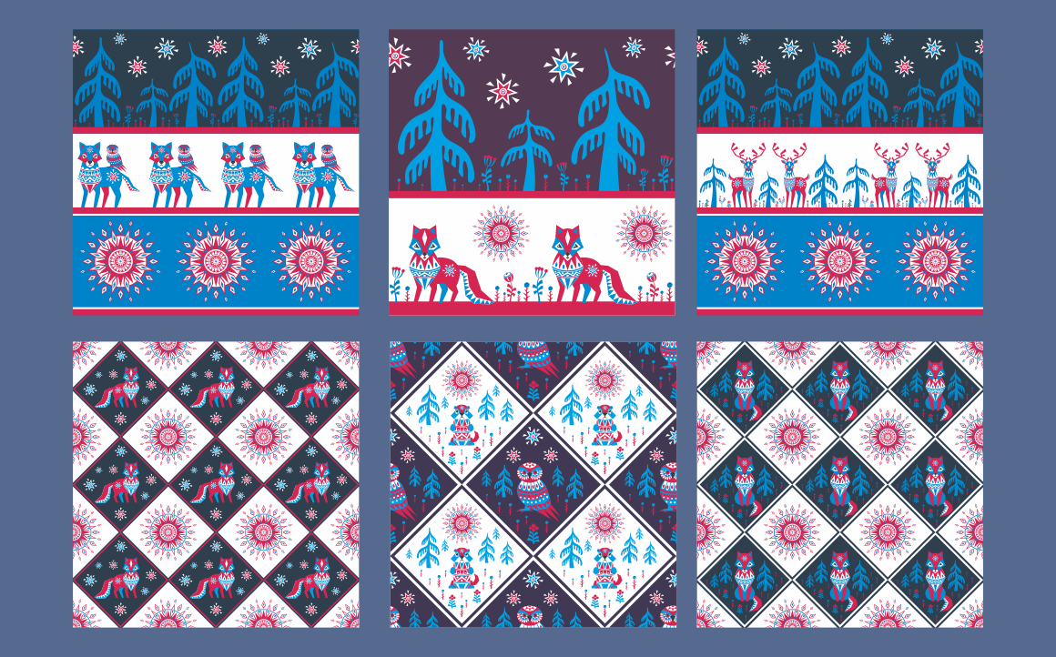 Print on Demand: Northern Tale. Seamless Patterns with Arctic Animals in Tribal Style Graphic Patterns By Olga Belova - Image 3
