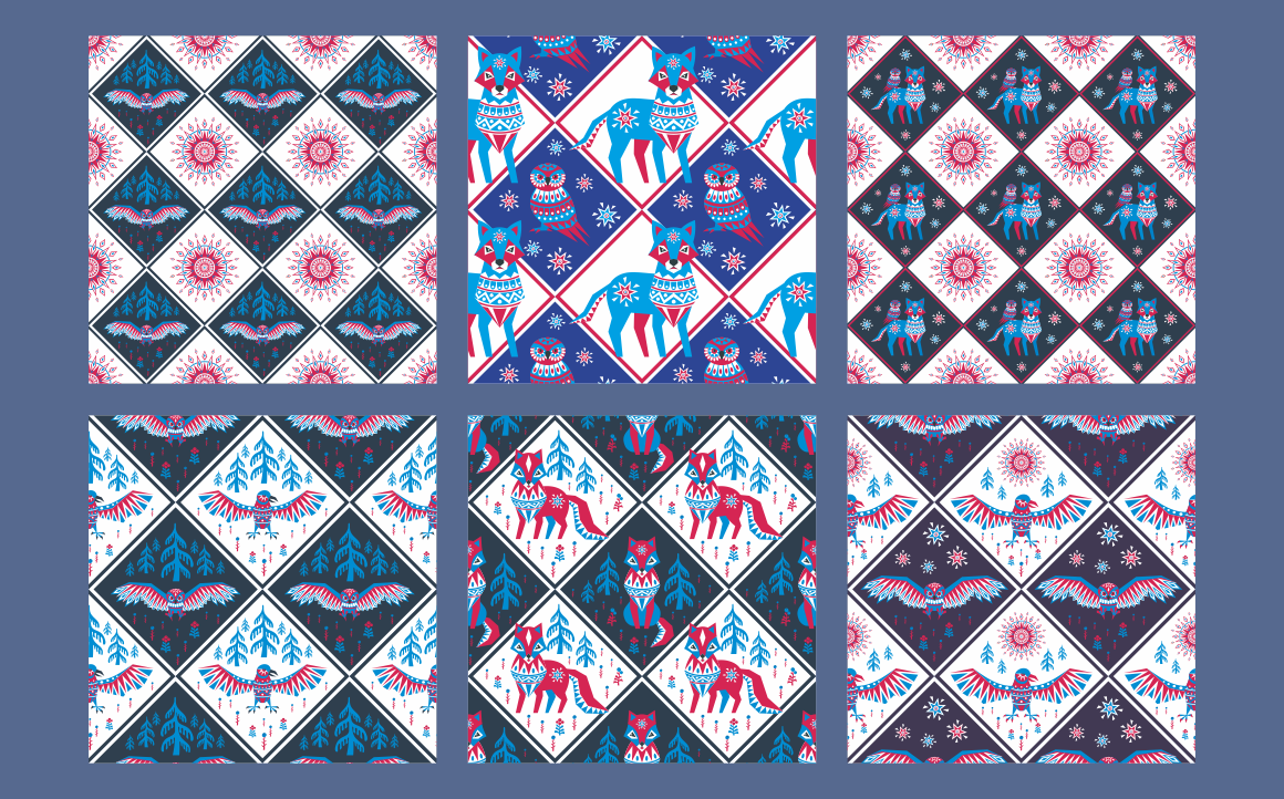 Print on Demand: Northern Tale. Seamless Patterns with Arctic Animals in Tribal Style Graphic Patterns By Olga Belova - Image 4