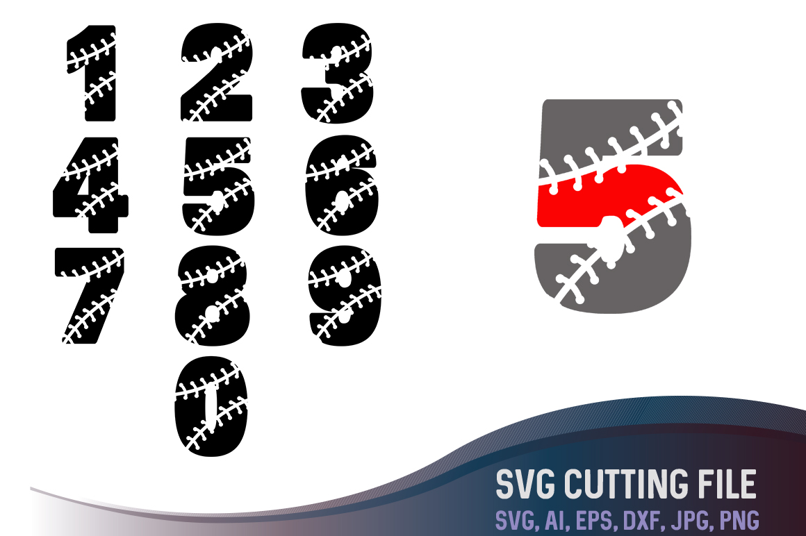Download Free Numbers From 0 9 In A Baseball Style Cutting File Graphic By SVG Cut Files