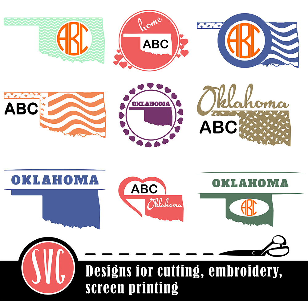 Download Free Oklahoma State Monograms Graphic By Vector City Skyline for Cricut Explore, Silhouette and other cutting machines.