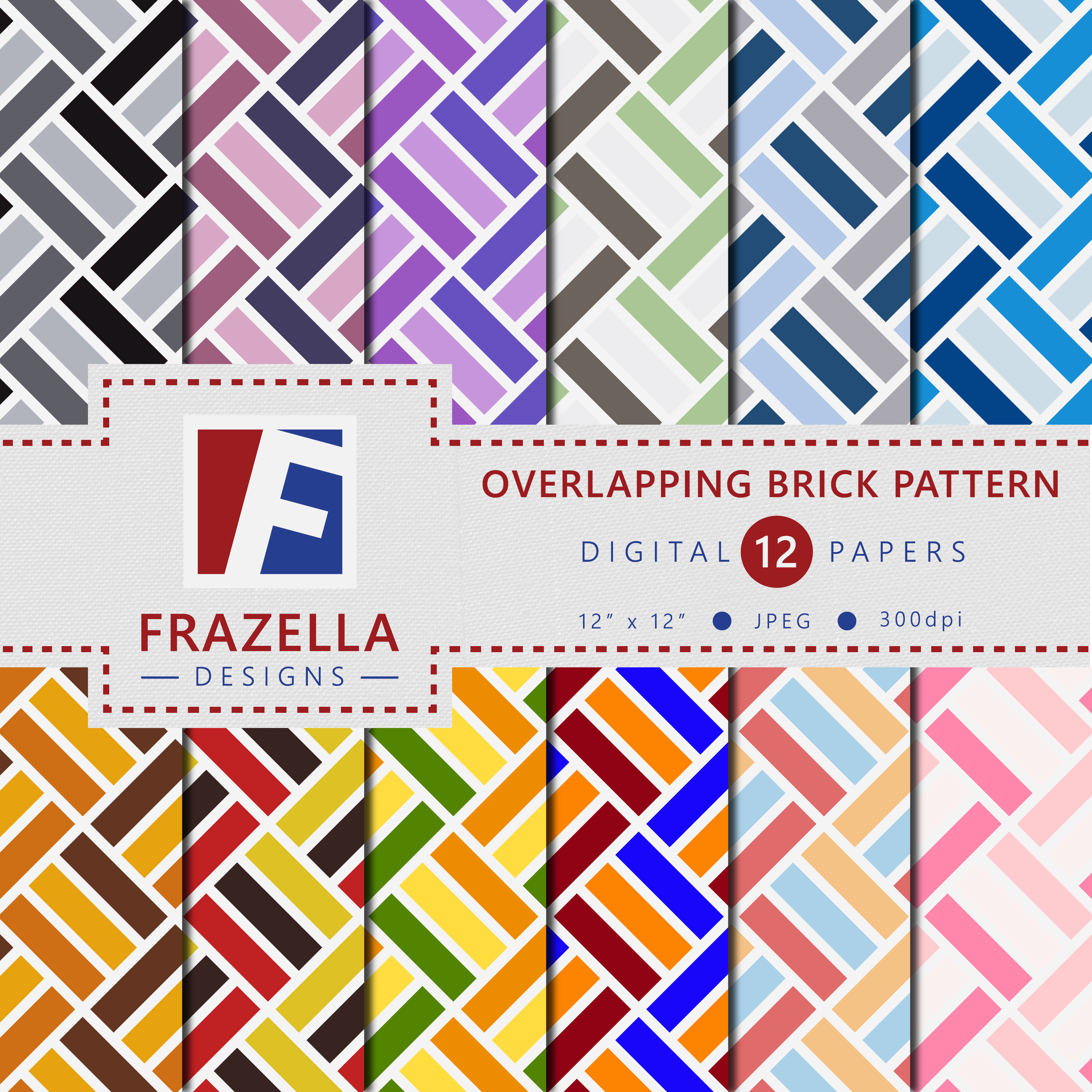 Download Free Overlapping Brick Pattern Digital Paper Collection Graphic By for Cricut Explore, Silhouette and other cutting machines.