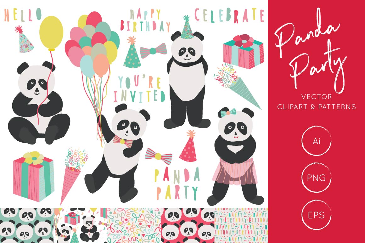 Print on Demand: Panda Party Clipart and Digital Pattern Set Graphic Illustrations By illuztrate