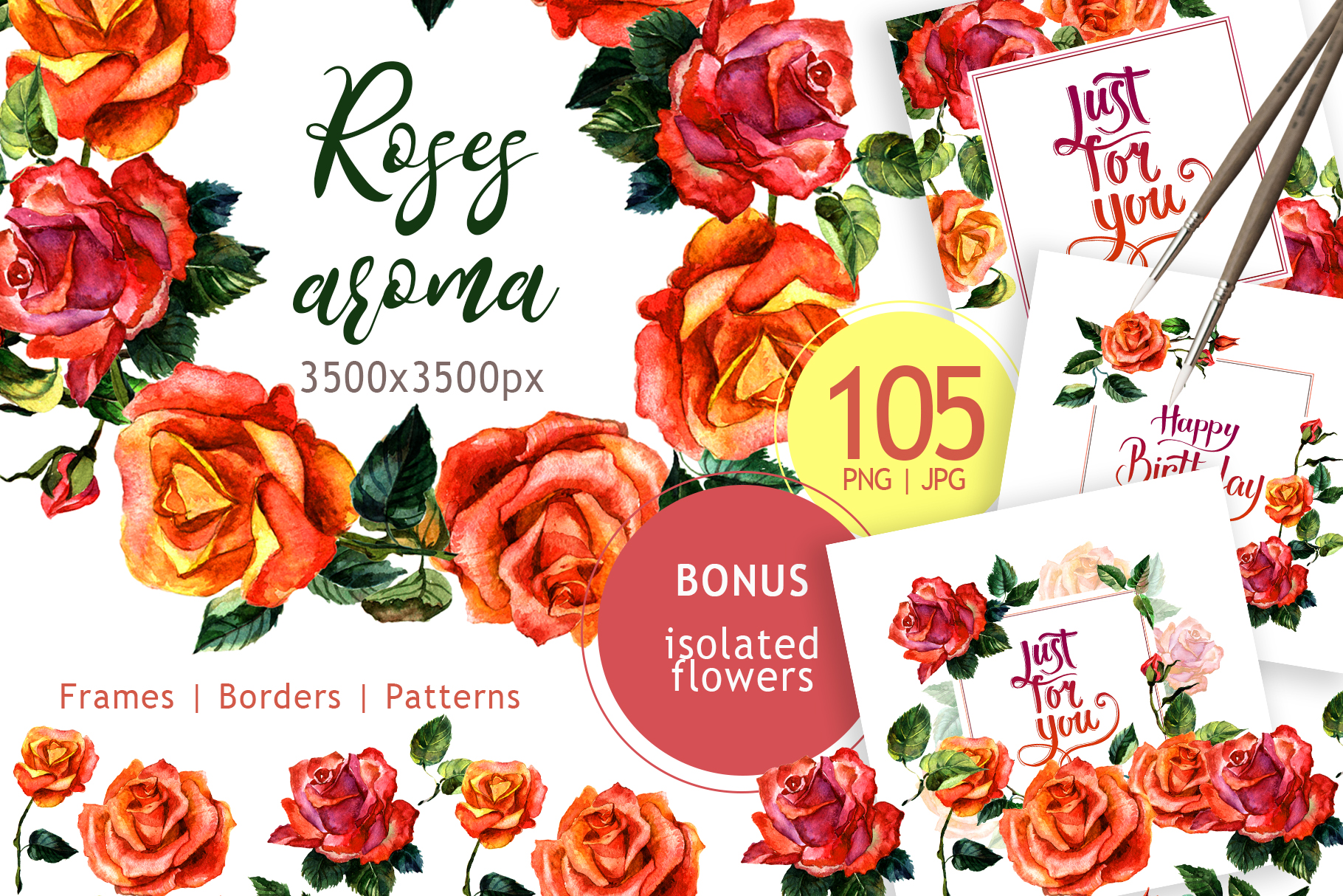 Print on Demand: Paradise Roses Watercolor Flower Set Graphic Illustrations By MyStocks