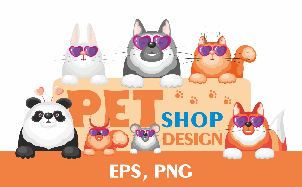 Print on Demand: Pet Shop Design Cute Animals Graphic Illustrations By Olga Belova - Image 1
