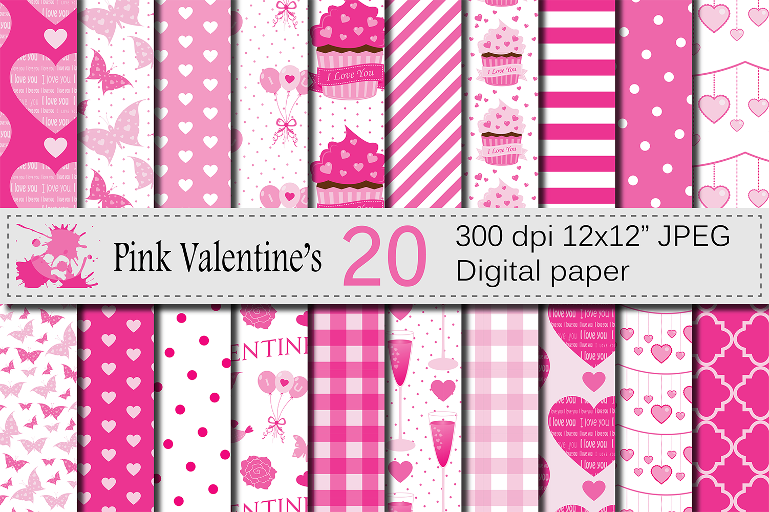 Pink Valentine`s Day Digital Paper Pack with Hearts, Cupcakes, Butterflies / Love Scrapbooking Papers / Valentine Backgrounds Graphic Backgrounds By VR Digital Design
