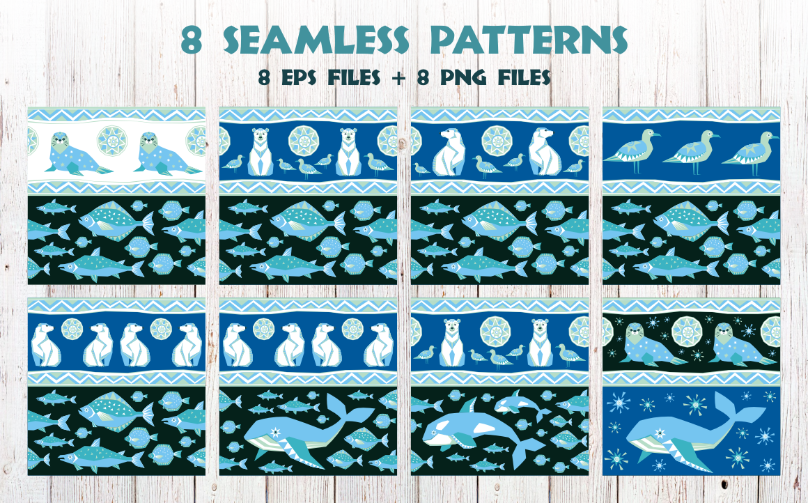 Print on Demand: Polar Night. Seamless Patterns in Ethnic Style. Graphic Patterns By Olga Belova - Image 2