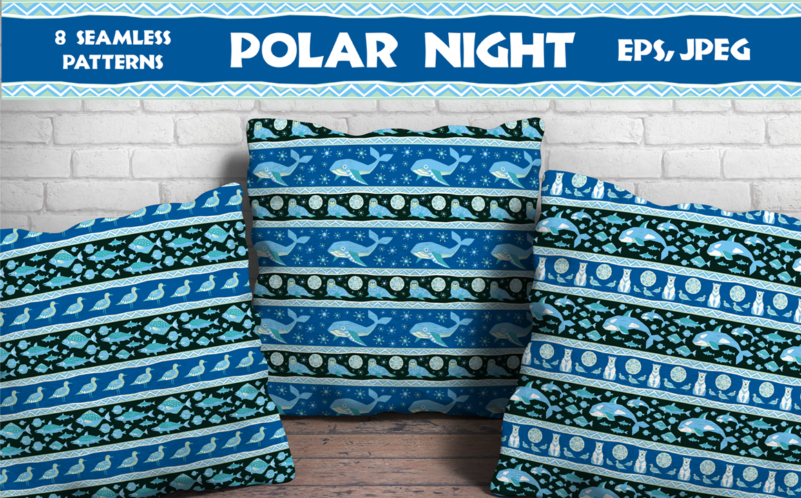 Print on Demand: Polar Night. Seamless Patterns in Ethnic Style. Graphic Patterns By Olga Belova - Image 1
