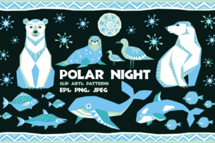 Polar Night. Vector Clip Arts and Seamless Patterns in Ethnic Style. Graphic By Olga Belova