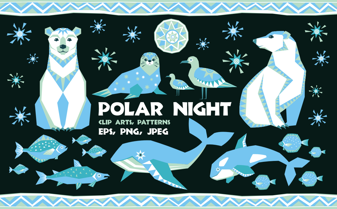 Print on Demand: Polar Night. Vector Clip Arts and Seamless Patterns in Ethnic Style. Graphic Illustrations By Olga Belova