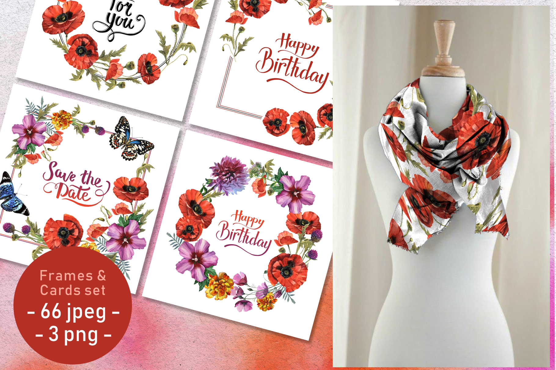 Download Free Poppy Field Watercolor Set Graphic By Mystocks Creative Fabrica for Cricut Explore, Silhouette and other cutting machines.