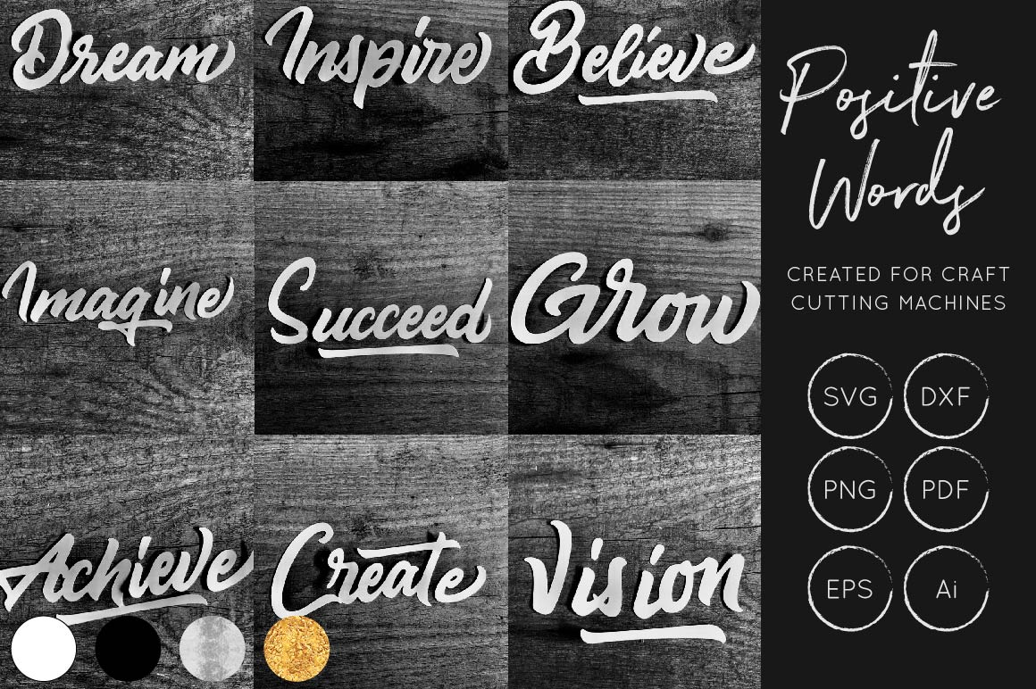 Download Free Positive Words Bundle Graphic By Illuztrate Creative Fabrica for Cricut Explore, Silhouette and other cutting machines.