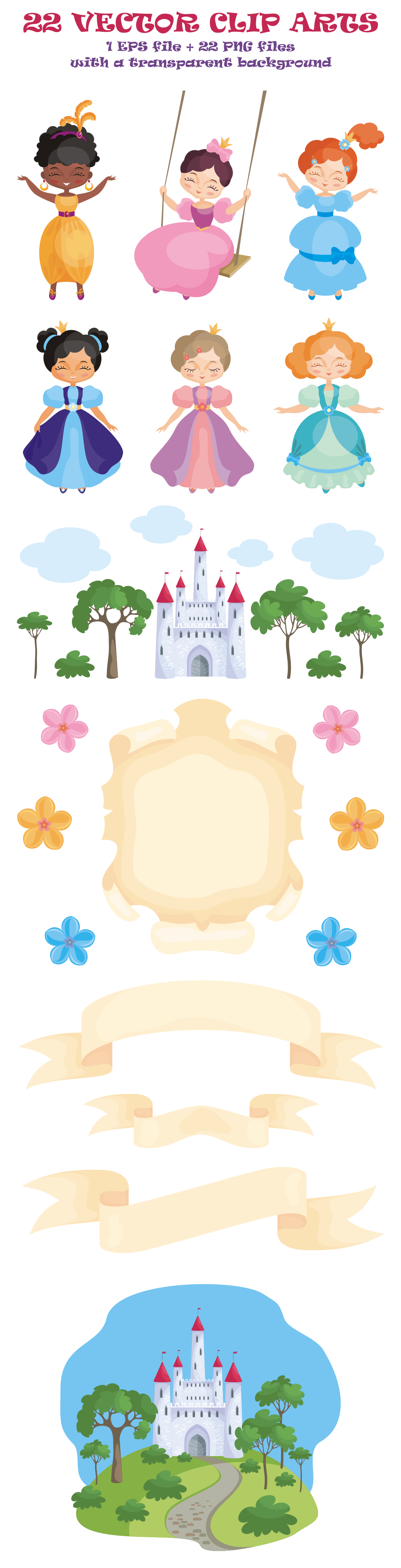 Download Free Princesses Vector Clip Art Illustrations Graphic By Olga Belova for Cricut Explore, Silhouette and other cutting machines.