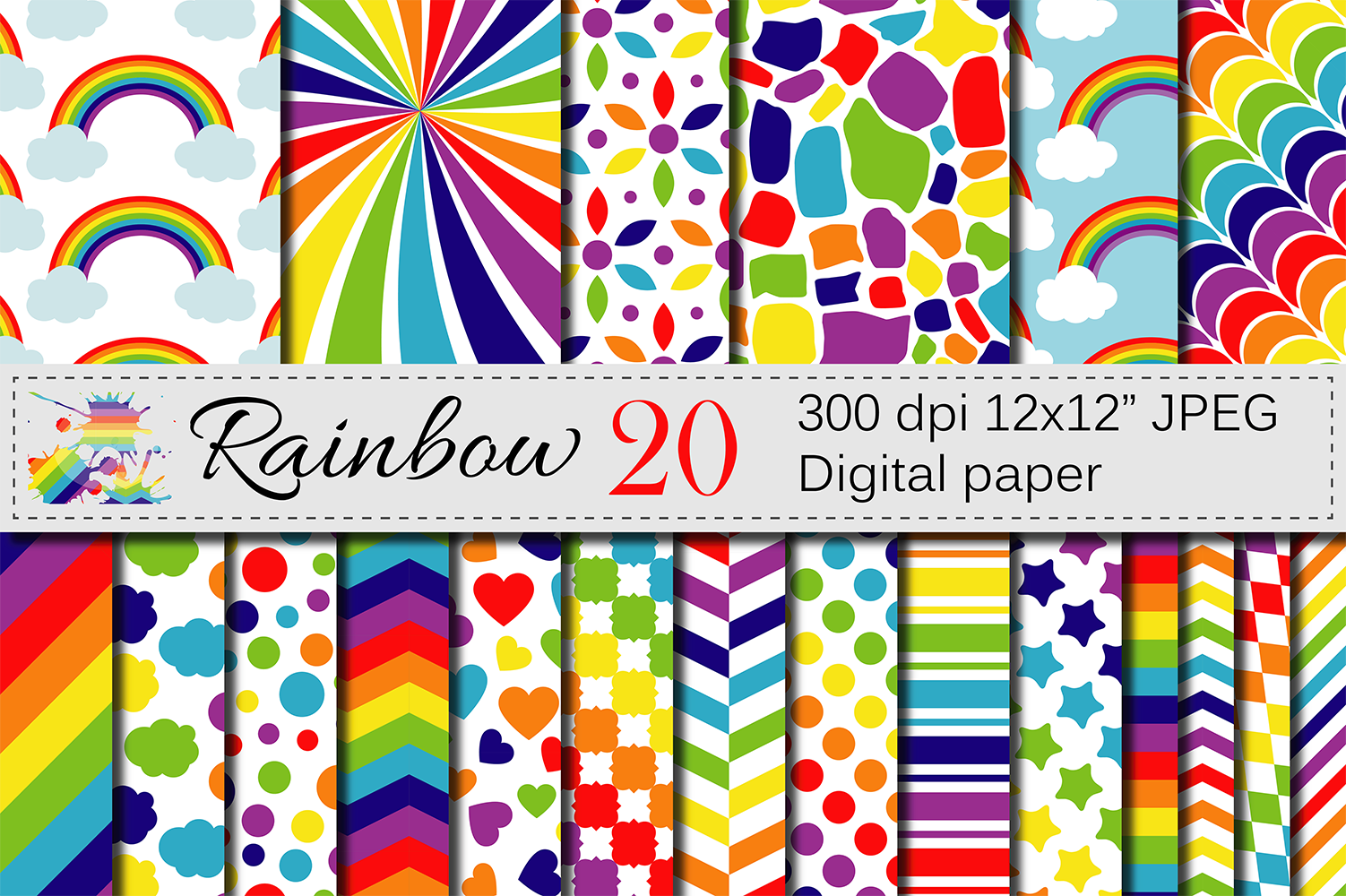 Rainbow Digital Paper Pack / Multicolored Scrapbooking Papers / Rainbow Backgrounds Graphic Backgrounds By VR Digital Design